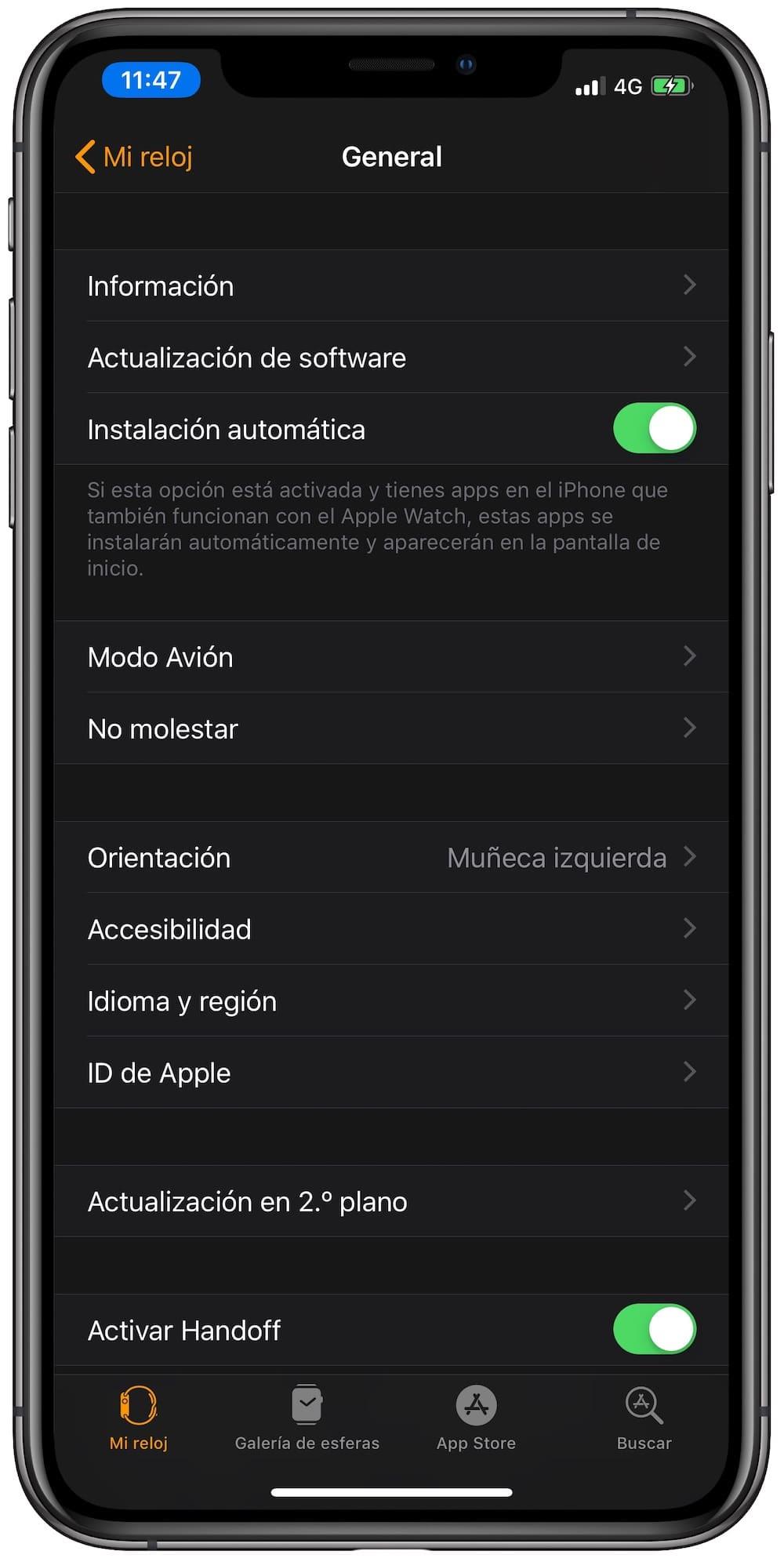 desactivar instalacion automatica apple watch