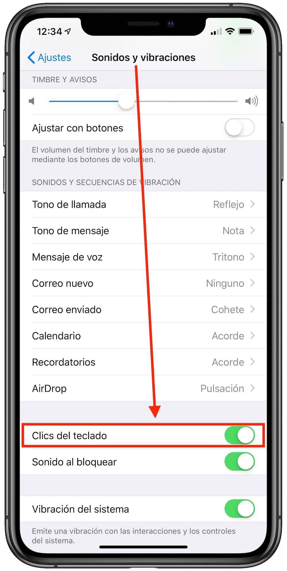 clics del teclado en iphone
