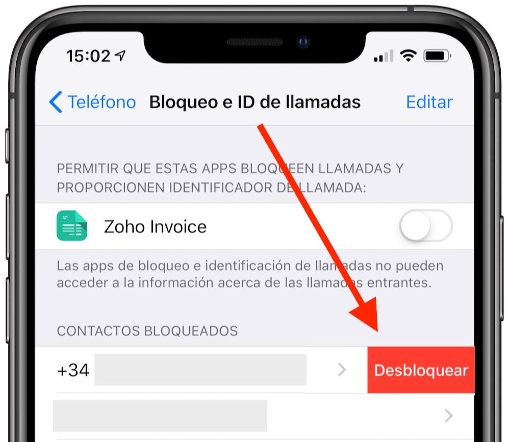 desbloquear numero en iphone