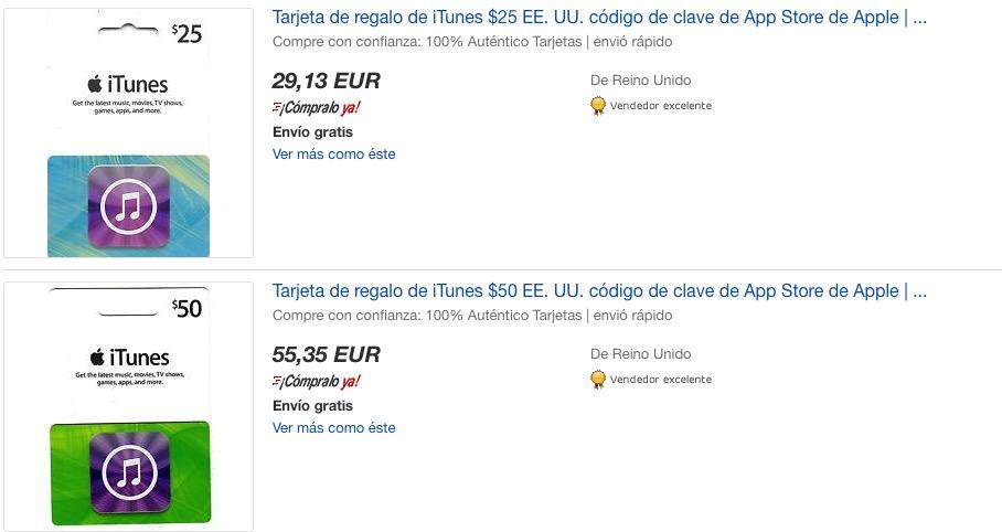 tarjetas itunes ebay
