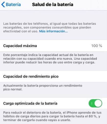 Activar carga optimizada de batería en iOS 13