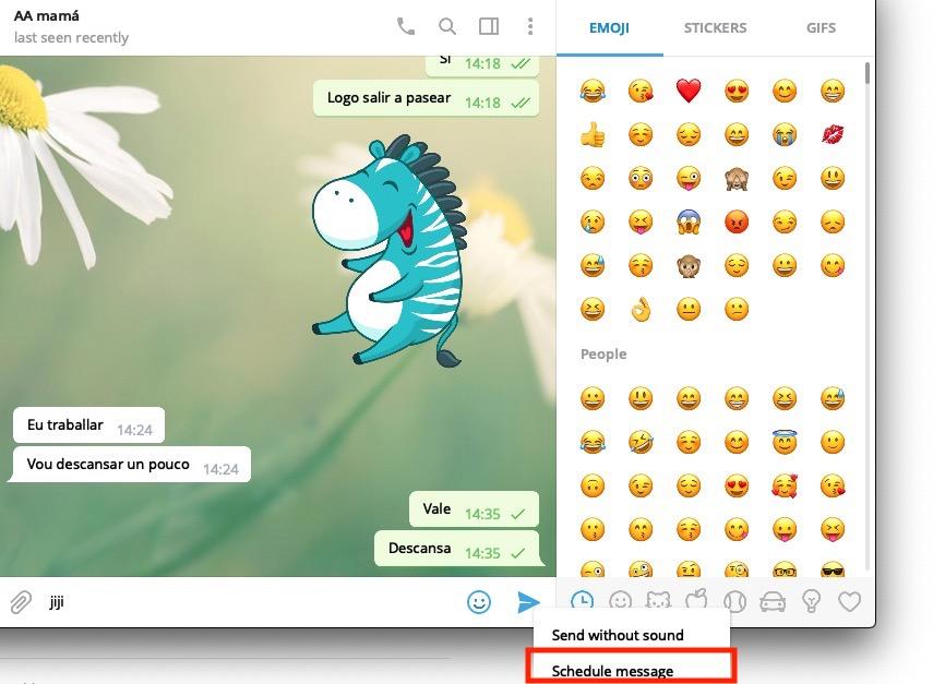 Programar mensajes en Telegram para Mac