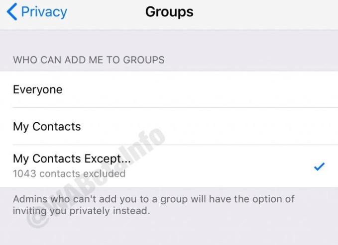 vitar que nos añadan a grupos en WhatsApp para iOS