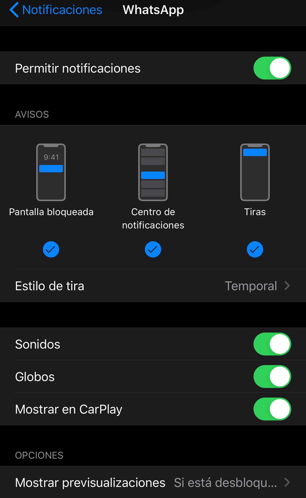 ocultar una aplicación en CarPlay whatsapp