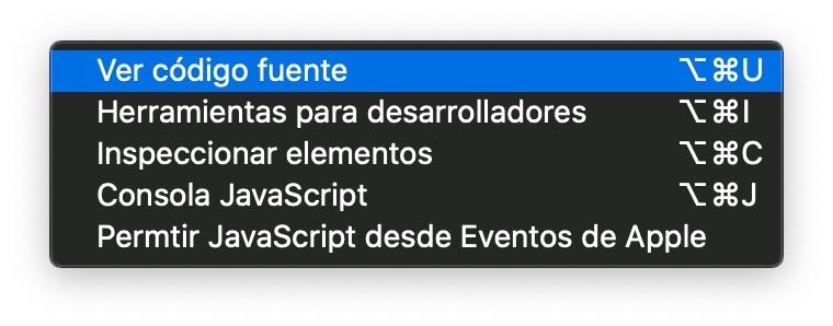 Cómo ver el código fuente de una web en Chrome para Mac